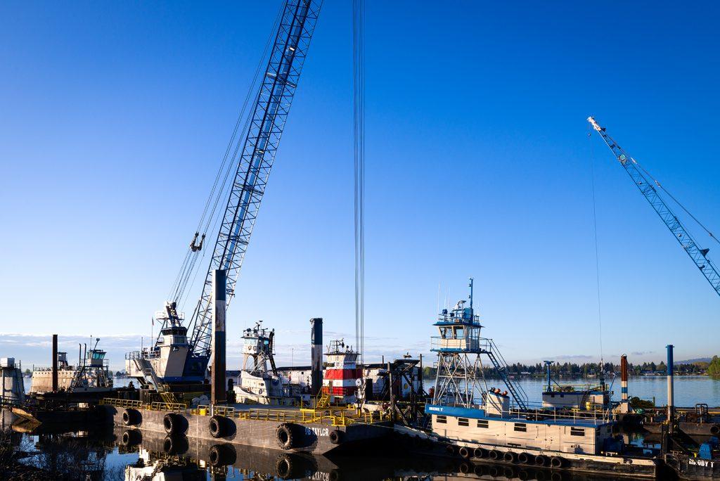 Large barge crane on river