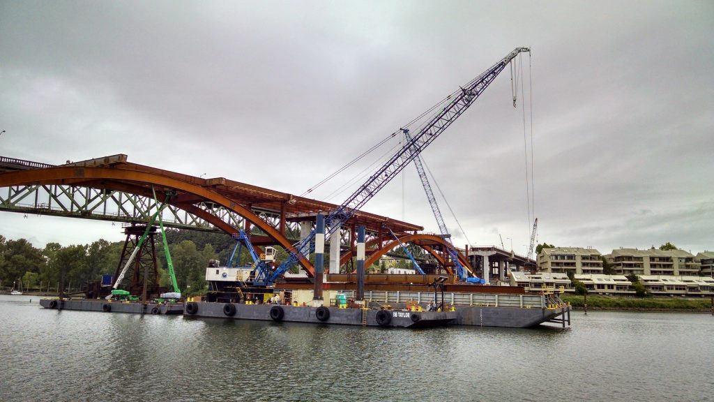 Sellwood bridge crane barge performs lift