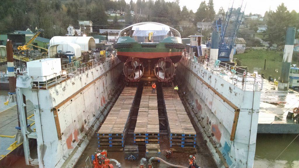 new marine vessel leaves drydock